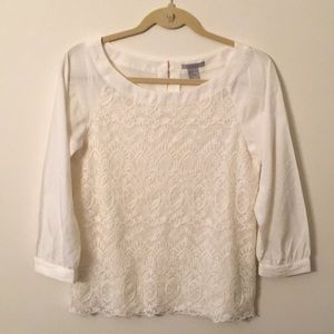 H & M white top with lace.  Size 6